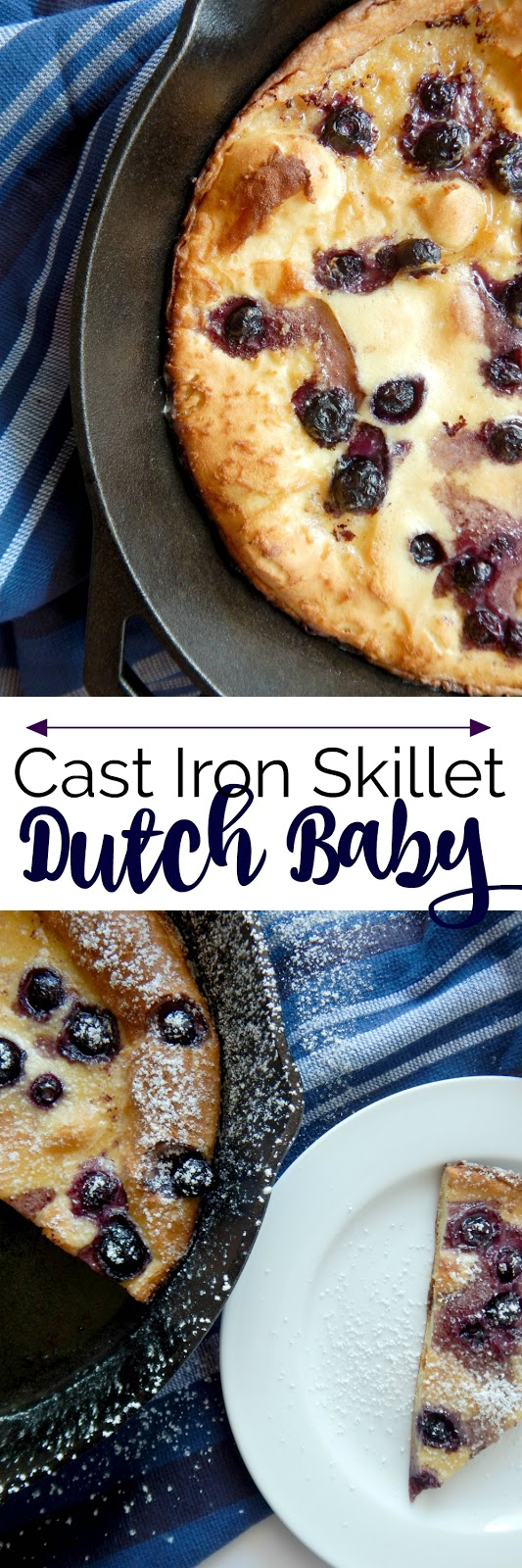 Cast Iron Skillet Dutch Baby...this delicate, thin, tender dutch baby pancake has a secret dairy ingredient!  Pull this out of the oven, dust with powdered sugar and dig in!  Start to finish done in 30 minutes. Perfect for breakfast, brunch, even dessert! #KalonaSuperNatural