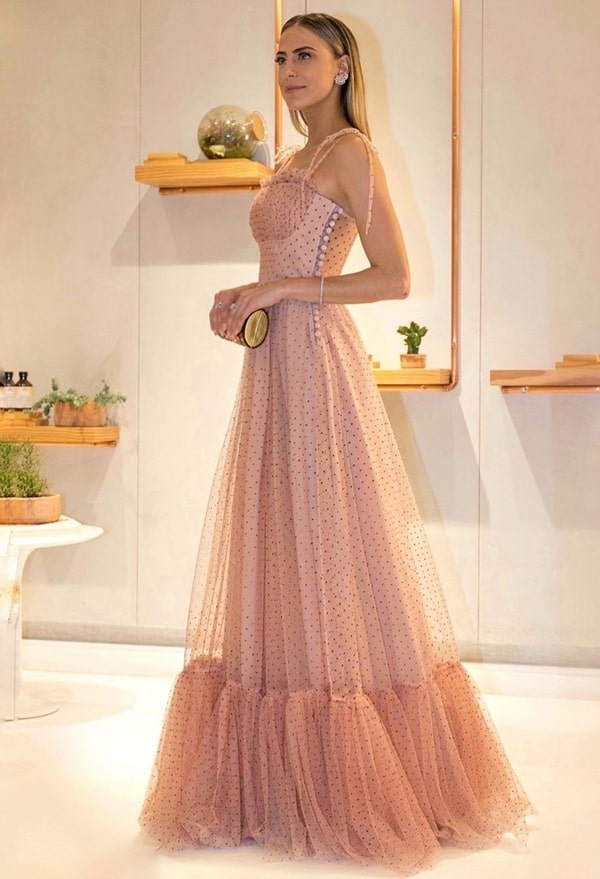 vestido de festa longo rose com estampa de poás micro bolinhas