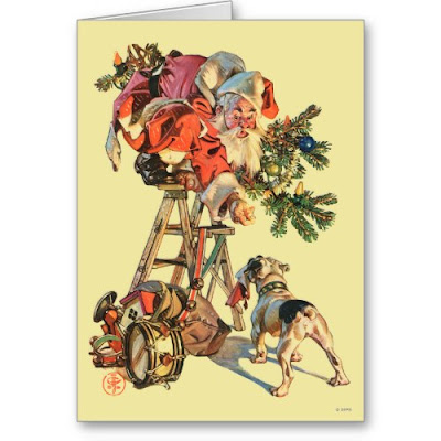 Santa Up a Ladder - Funny Christmas Greeting Card