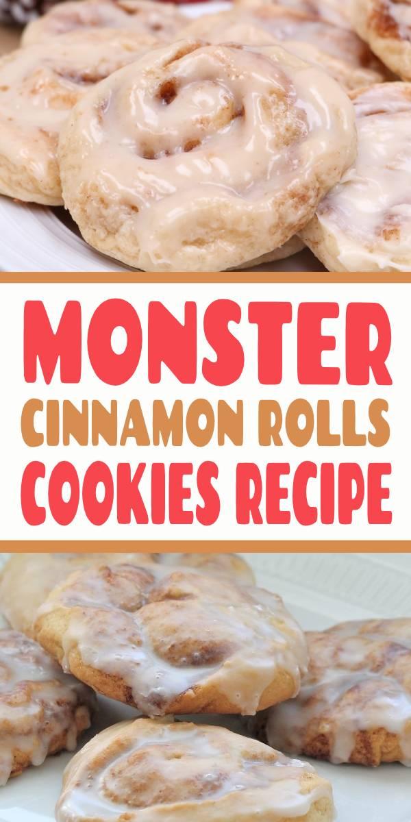 Monster Cinnamon Roll Cookies Recipe | Large cake-like cookies, swirled with cinnamon, sugar, and butter.  Like a cinnamon roll, but is a cookie! #cinnamon #cinnamonrolls #cookies