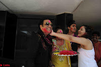 Govinda celeting Holi with His family wife daughter 009.JPG