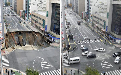 Japan fixes massive sinkhole on busy road in Fukuoka