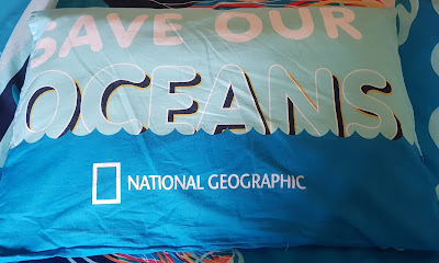 National Geographic Recycled Plastic Ocean Life Pillowcase with Save Our Oceans emblazoned