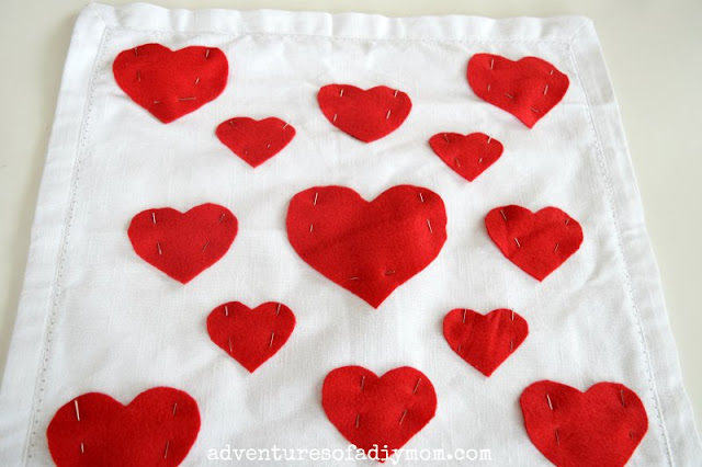 pin hearts to pillow
