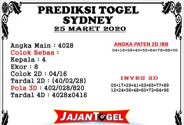 Prediksi Togel Sidney Rabu 25 Maret 2020 - Prediksi Jajan Togel