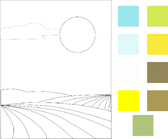 Gambar Mewarnai Pemandangan Berwarna