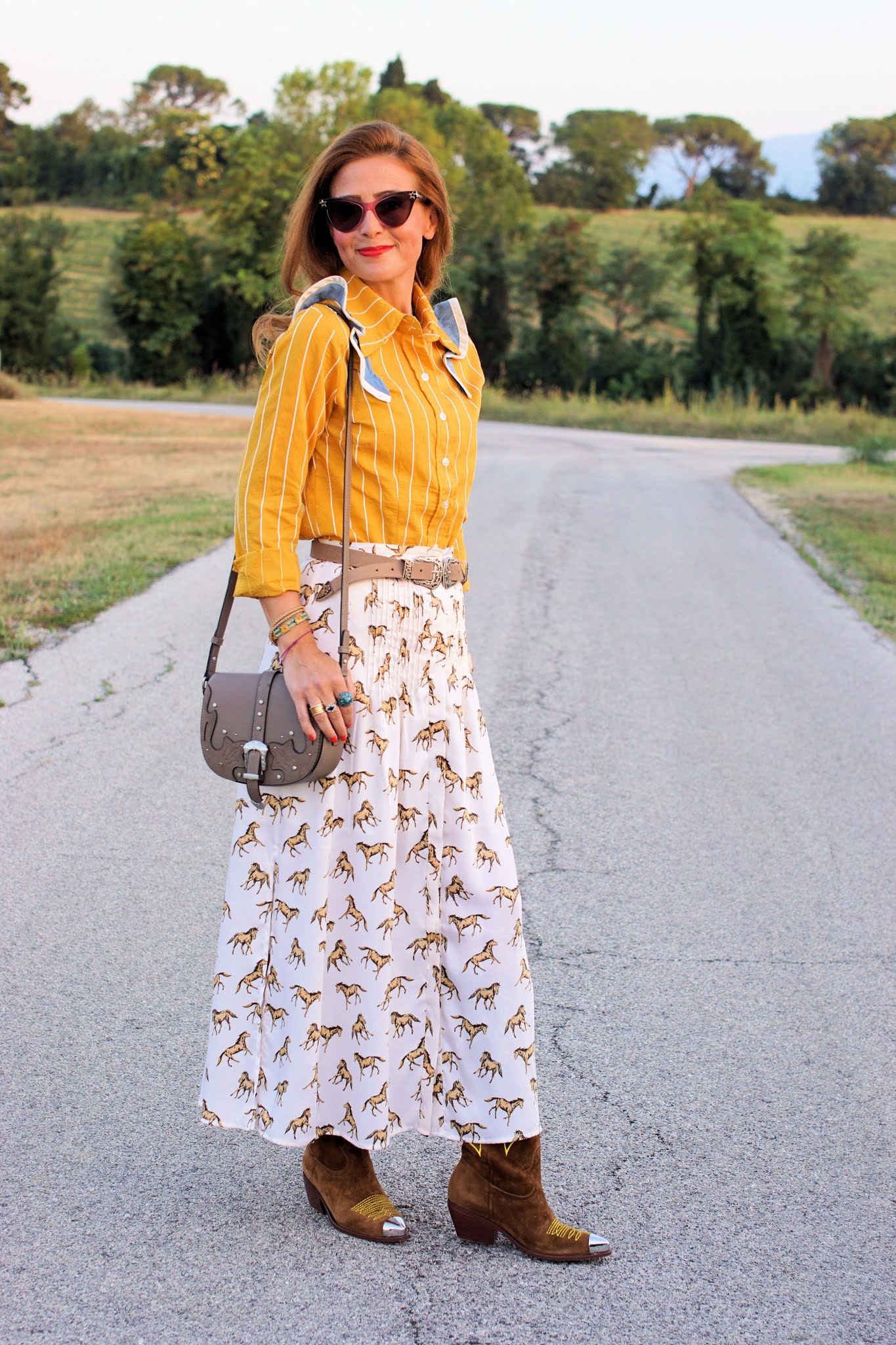 Yellow country outfit with Paige Callaway 1912 pinstripe shirt