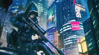 Night, City, Buildings, Sci-Fi, Cyberpunk, Sniper, Assassin, 4K, #6.2546
