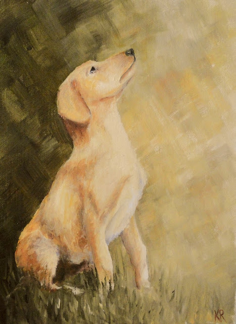 seated labrador, oil painting