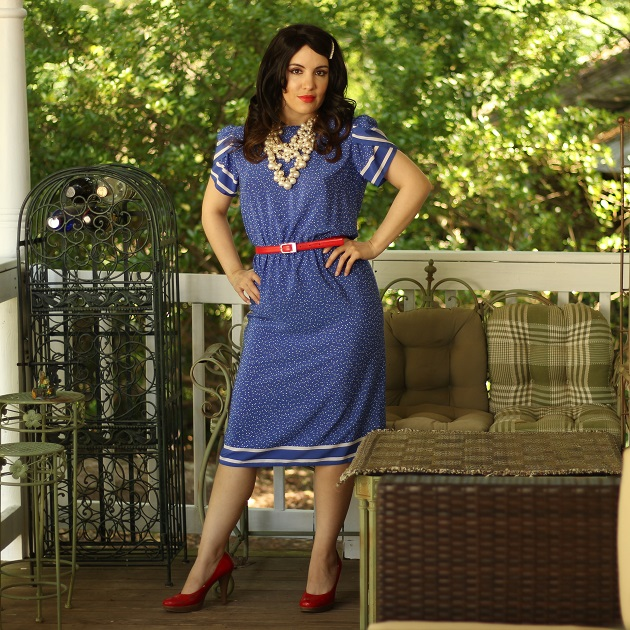 Blue Retro Style Print Dress