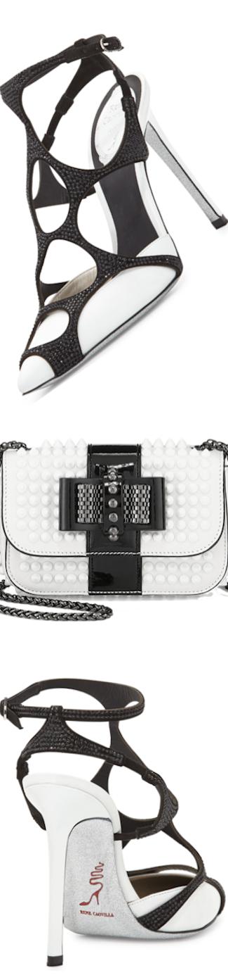 Rene Caovilla  Swarovski® Crystal Web Slingback Pump black/white
