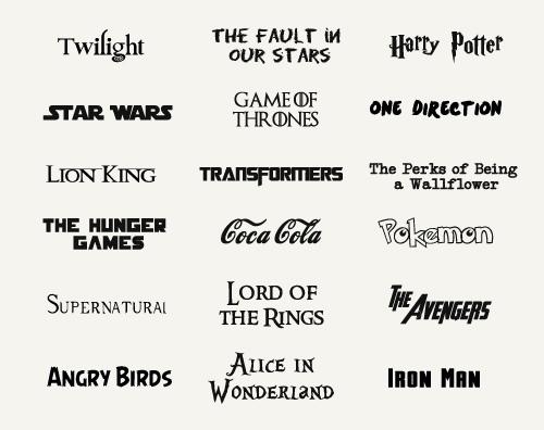 Подборка шрифтов из фильмов, мультфильмов и комиксов
