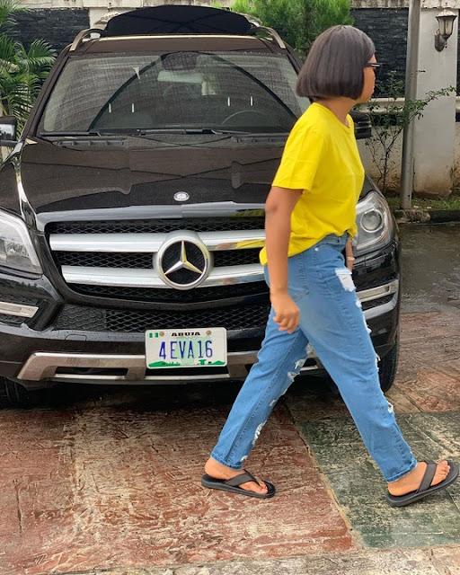 """4 EVA 16"" – Regina Daniels Shows Off Her Car And Customised Plate Number"