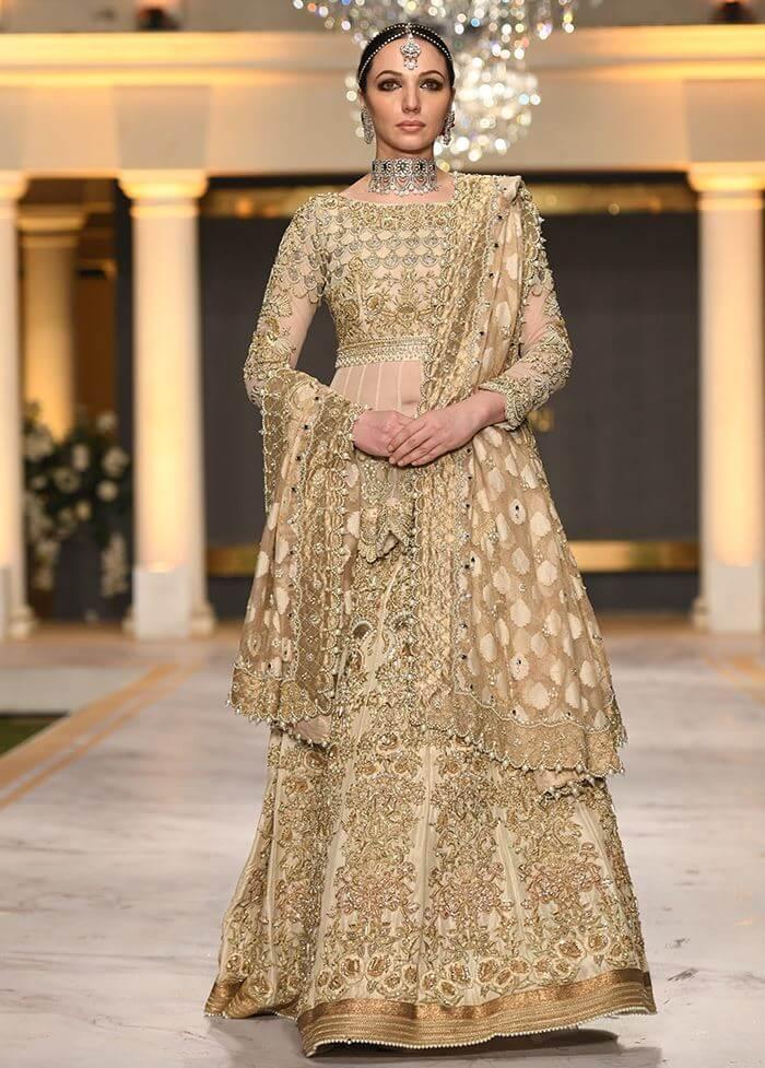 Deepak Parwani Handwork Peplum Blouse with Panelled Bridal Lehenga