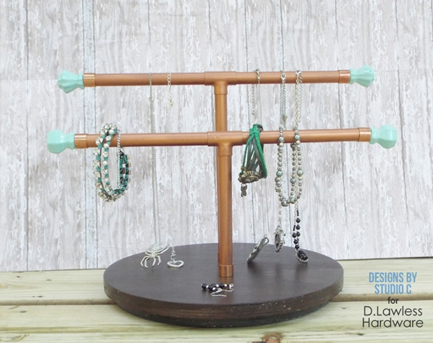 The d lawless hardware blog diy jewelry holder using for Copper pipe jewelry stand