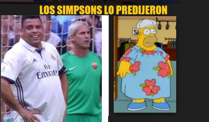 Ronaldo Nazario y Homero Simpsons, separados al nacer gordo