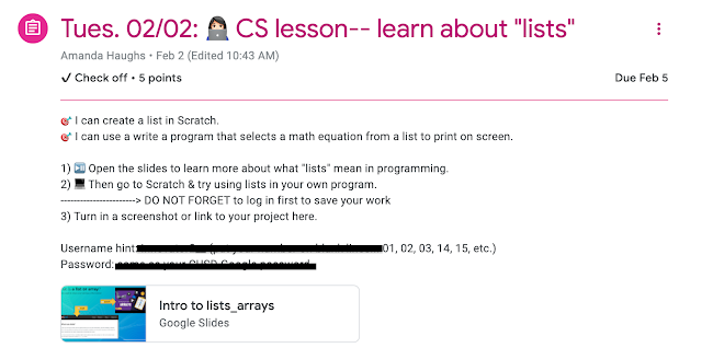 CS learning targets example