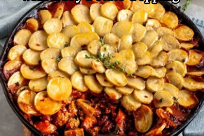 Vegan Savory Skillet Stew with Baby Potato Topping