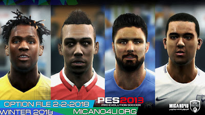 PES 2013 Next Season Patch 2017/2018 Option File Update 02/02/2018