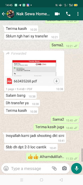 Hasil perbincangan dengan penyewa homestay melalui Whatsapp