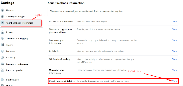 your facebook account information