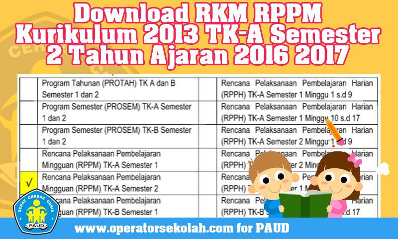 Download RKM RPPM Kurikulum 2013 TK-A Semester 2 Tahun Ajaran 2016 2017