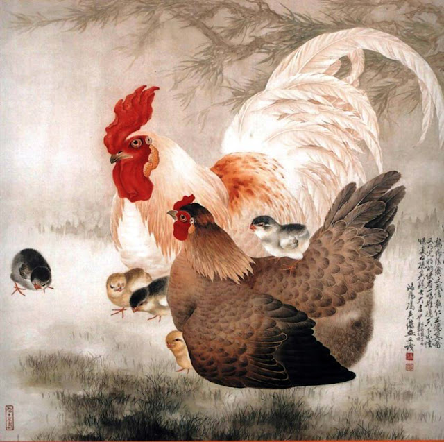 Петух с курицей и цыплятами
