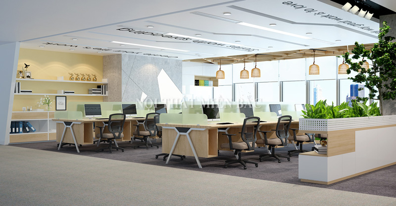Thiết kế nội thất phòng làm việc với không gian khoa học