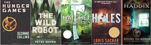 Image of novel covers: The Hunger Games, The Wild Robot, Holes, Hatchet, and Among the Hidden