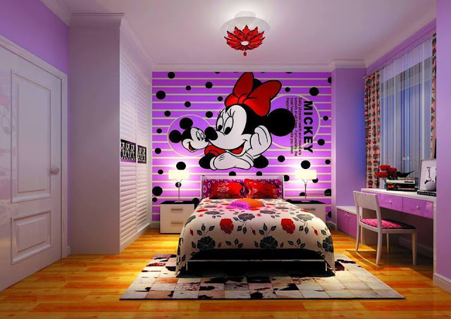 Decoraciones de dormitorios y cubrecamas de mickey y minnie for Decoraciones sencillas para habitaciones