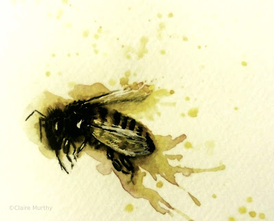 All types of bee paintings - abstract watercolour fun painting, Kent Art Workshops.