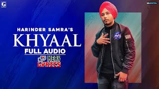 Khyaal By Harinder Samra - Lyrics