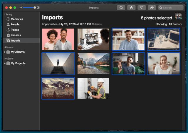 حدد صورًا متعددة لطباعتها في برنامج الصور Photos على الماك Mac