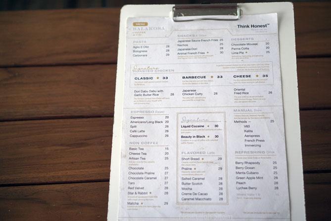 Daftar harga dan menu di Balakosa Coffee and Co Jogja