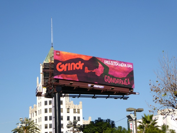 Grindr Gonorrhea STD check billboard