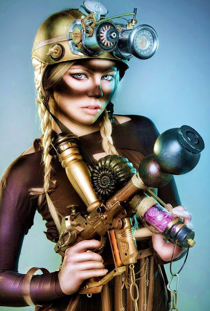 Sexy steampunk costume idea for a working class coal miner. Hard hat, goggles, dirt and grease makeup for goggle marks.