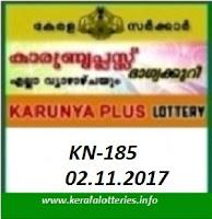 KARUNYA PLUS (KN-185) Lottery Result on November 02, 2017