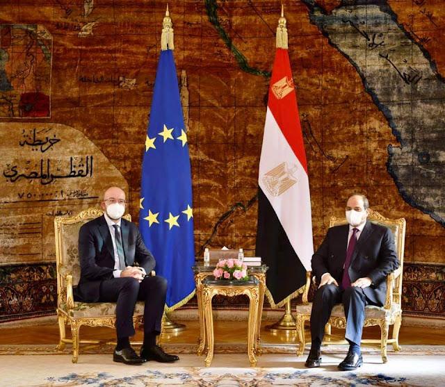 الرئيس السيسي يناقش باستفاضة مع رئيس المجلس الاوروبي التطورات الأخيرة لحالة التوتر بين العالمين   الإسلامي والأوروبي