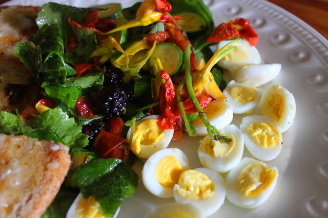 Organically raise quail egg salad