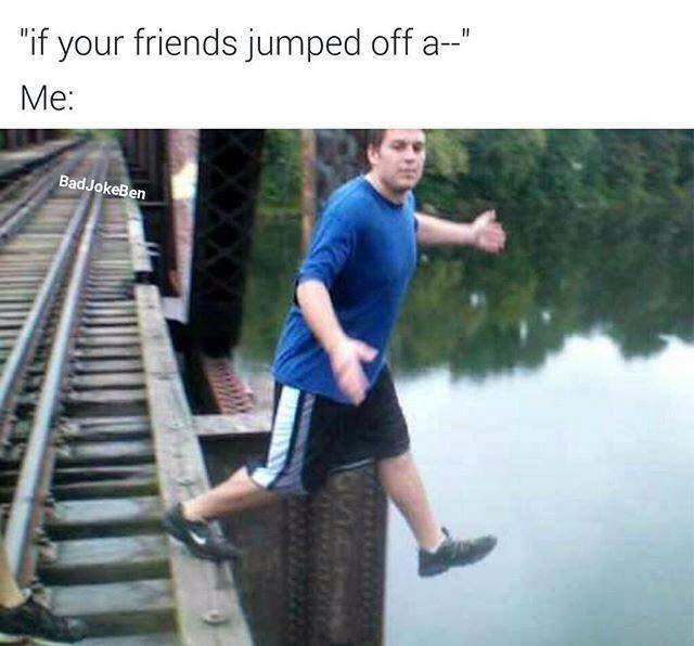 If your friends jumped off a bridge.
