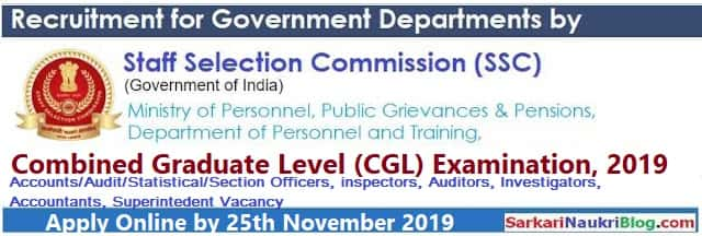 SSC CGL Recruitment Examination 2019