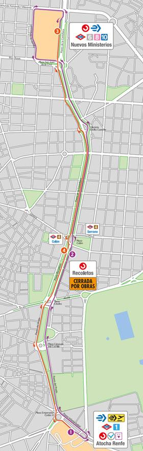 Autobús entre entre Atocha y Nuevos Ministerios por corte de Cercanías del el 24 de julio al  31 de agosto