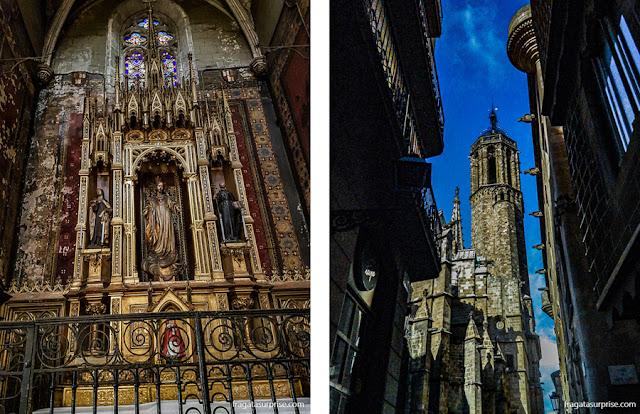 Bairro Gótico: um altar lateral na Igreja de Sant Just i Pastor e a torre da Catedral de Barcelona