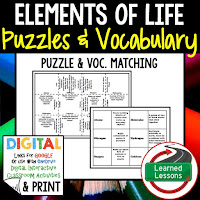 Elements of Life, Life Science Puzzles, Life Science Digital Puzzles, Life  Science Google Classroom, Vocabulary, Test Prep, Unit Review