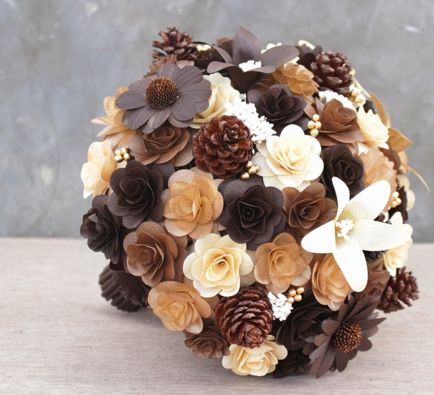 Brown Wedding Flowers: Rustic Brown And Ivory Wedding Bouquets, Corsages Made Of