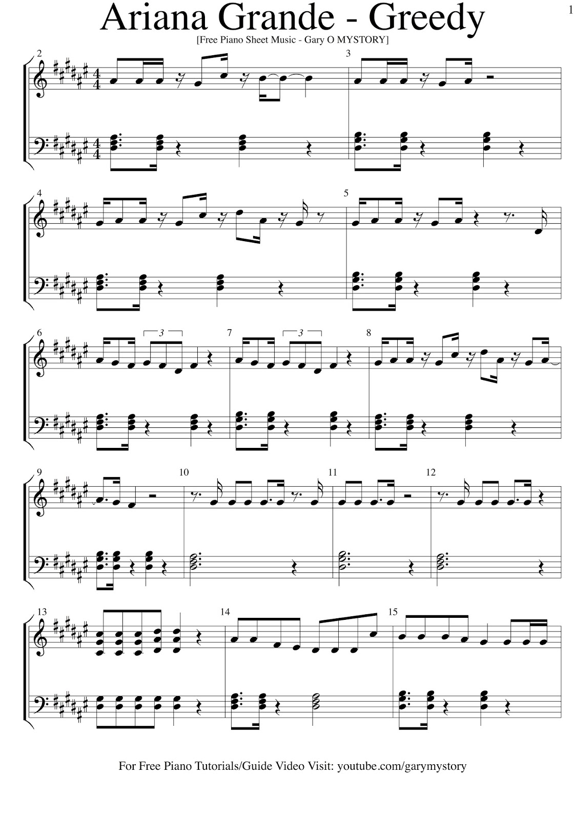 Ariana grande greedy free piano sheet music easy piano tutorial gary o mystory hexwebz Image collections