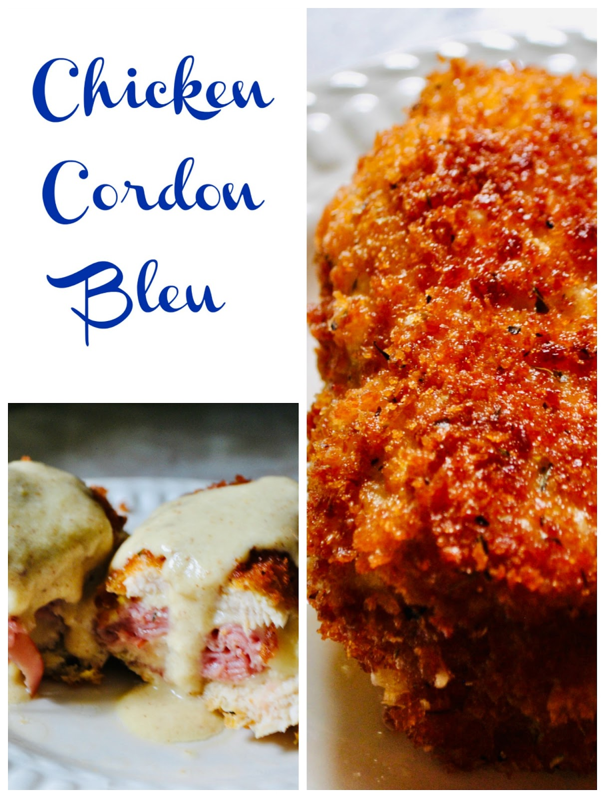 Chicken Cordon Bleu homemade recipe (chicken, ham, and swiss cheese fried)