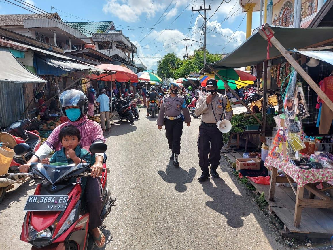 Cegah Penyebaran Covid-19, Polres Batara Patroli ke Pasar Pendopo
