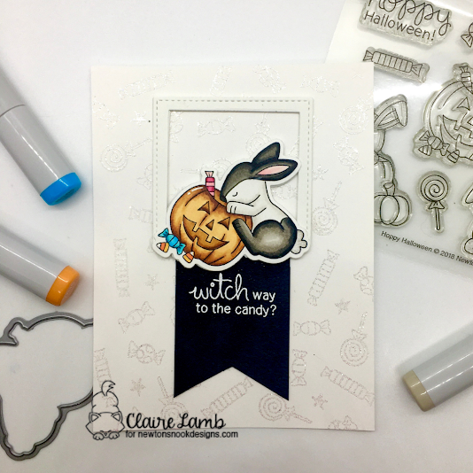 Witch way to the candy by Claire features Hoppy Halloween by Newton's Nook Designs; #inkypaws, #newtonsnook, #halloweencards