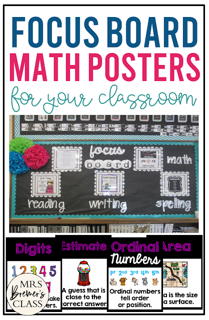 Math Focus Board Posters for First Grade and Second Grade. Display in the classroom on a focus board or objective board for student reference and learning. An educational display for use in the classroom. Hang as you teach a new learning standard. No prep- just print and go!